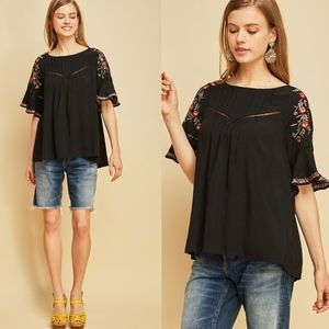 ELLIE Embroidered Top - BLACK